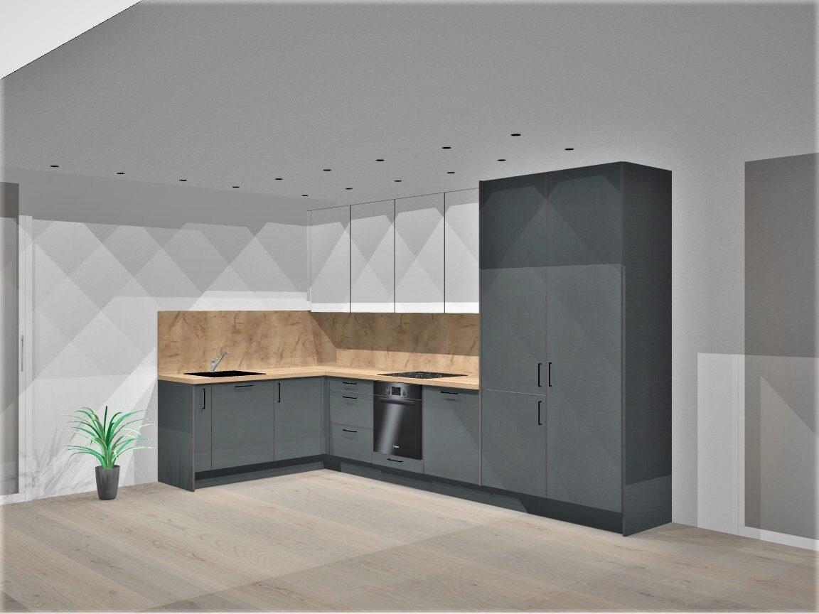"""Preliminari """"Modern Grey"""" virtuvės vizualizacija, virš 8 bėginių metrų virtuvė"""