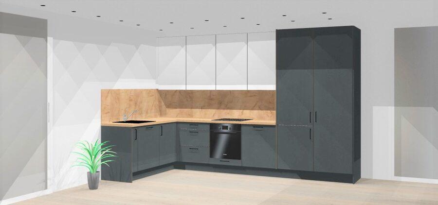 """Preliminari """"Modern Grey"""" virtuvės vizualizacija, iki 8 bėginių metrų virtuvė"""